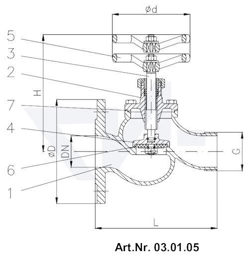 Клапан пожарный DIN 86211 GG 25 тип 03.01.05 / 03.01.06