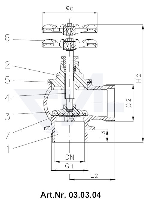 Клапан пожарный с ввинчиной крышкой Вход / Выход: Внешняя резьба BSP-(R) тип 03.03.01 / 03.03.02 / 03.03.04