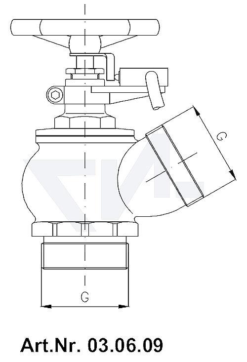 Клапан пожарный угловой 30° тип 03.06.08 / 03.06.09