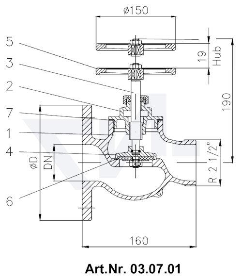 Клапан пожарный с ввинчиной крышкой Rg 5 тип 03.07.01 / 03.08.01 / 03.09.01 / 03.10.01