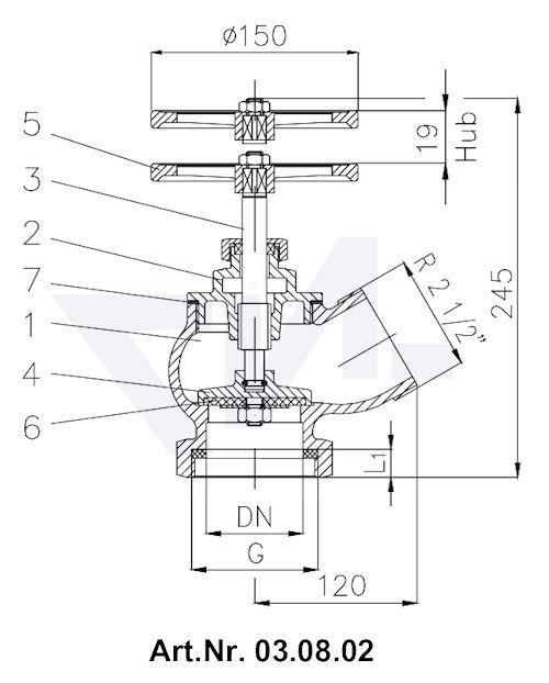 Клапан пожарный DN 65 45° тип 03.07.02 / 03.08.02 / 03.09.02 / 03.10.02