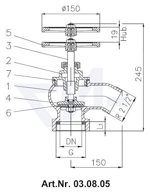 Клапан пожарный угловой 30° Rg 5 тип 03.07.05 / 03.08.05 / 03.09.05 / 03.10.05