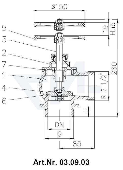 Клапан пожарный DN 65 90° тип 03.07.03 / 03.08.03 / 03.09.03 / 03.10.03