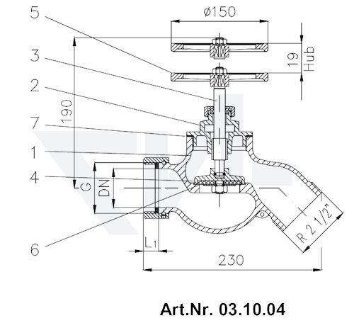 Клапан пожарный проходной 45° Rg 5 тип 03.07.04 / 03.08.04 / 03.09.04 / 03.10.04