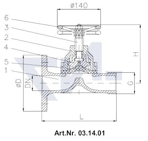 Клапан пожарный с мембраной Rg 5 тип 03.14.01 / 03.14.02