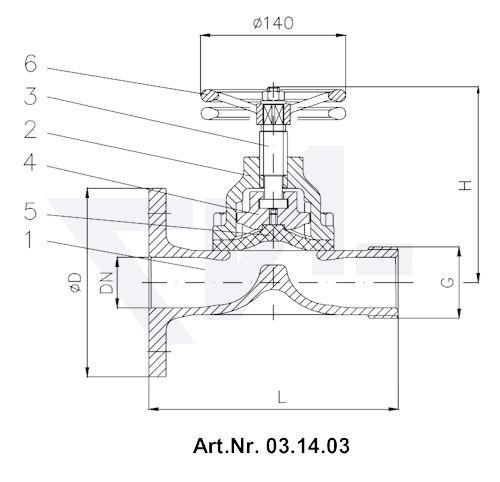Клапан пожарный Rg 5 тип 03.14.03 / 03.14.04