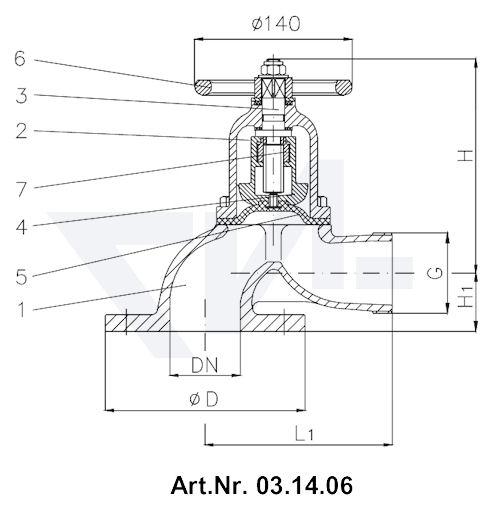 Клапан пожарный с мембраной Rg 5 тип 03.14.05 / 03.14.06