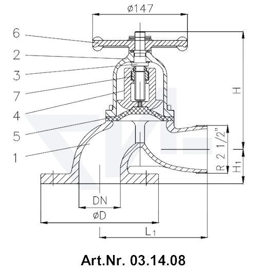 Клапан пожарный тип WFB невыдвижной шпиндель тип 03.14.07 / 03.14.08