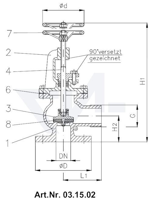 """Клапан пожарный """"американский"""" US-стандарт тип 03.15.01 / 03.15.02"""