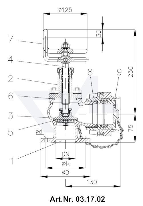 Клапан пожарный тип 03.17.01 / 03.17.02