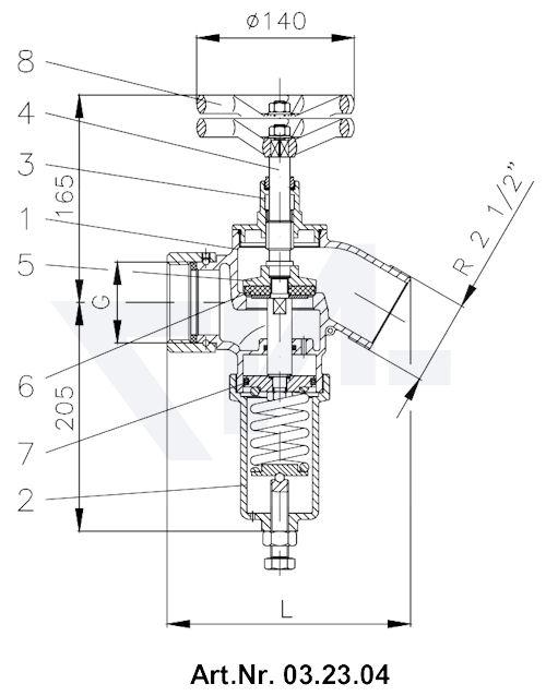 Клапан редукционный пожарный тип 03.23.04 / 03.24.04