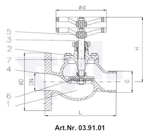 Клапан пожарный с двойным уплотнением тип 03.91.01 / 03.91.02