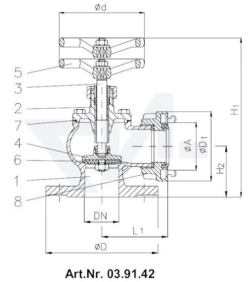 Клапан пожарный Storz 03.91.41 / 03.91.42