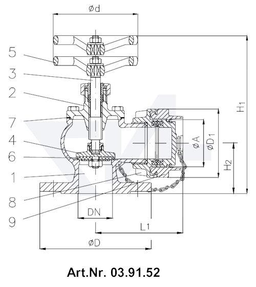 Клапан пожарный с двойным уплотнением тип 03.91.51 / 03.91.52