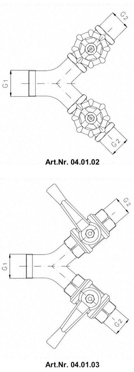 Разветвления рукавные выпускные без запорного органа тип 04.01.02 / 04.01.03