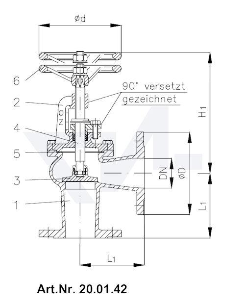Клапан запорный фланцевый с указателем положения тип 20.01.41 / 20.01.42
