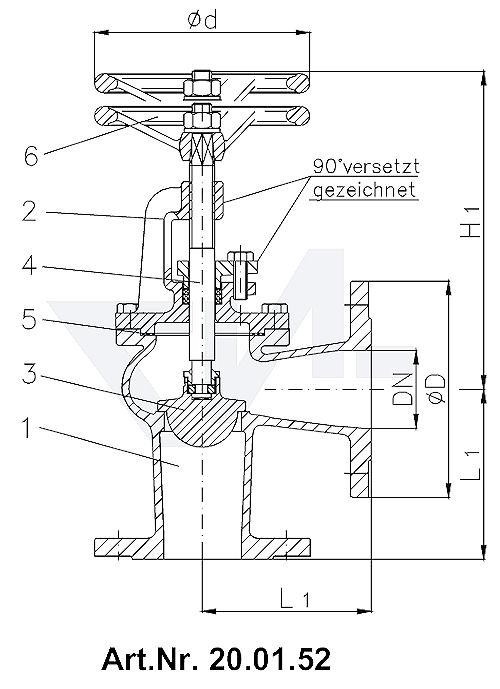 Клапан запорный фланцевый с дугообразной крышкой и регулирующим золотником бронза тип 20.01.51 / 20.01.52