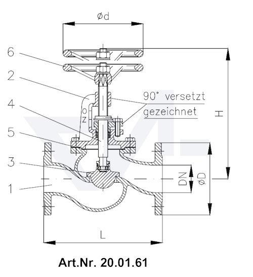 Клапан запорный фланцевый с дугообразной крышкой, регулирующим золотником и указателем положения бронза тип 20.01.61 / 20.01.62