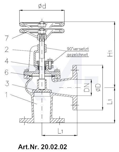 Клапан невозвратно-запорный с дугообразной крышкой тип 20.02.01 / 20.02.02