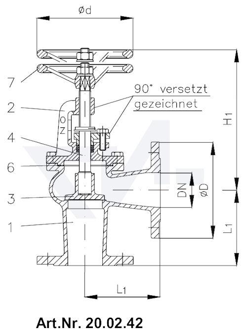 Клапан невозвратно-запорный бронза с дугообразной крышкой и указателем положения тип 20.02.41 / 20.02.42