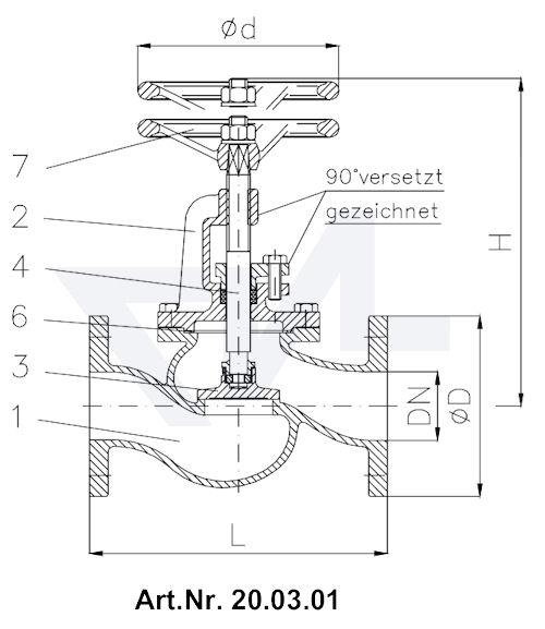 Клапан запорный фланцевый, короткой модели, с дугообразной крышкой тип 20.03.01 / 20.03.02