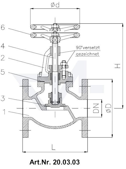 Клапан запорный фланцевый Typ 1270/1271 тип 20.03.03 / 20.03.04