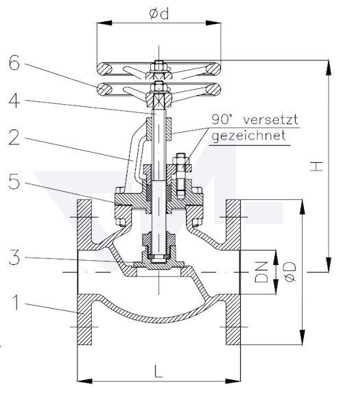 Клапан запорный фланцевый проходной с дугообразной крышкой PN25 тип 20.03.05