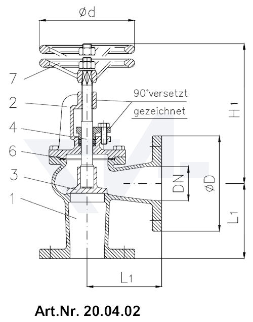 Клапан невозвратно-запорный фланцевый, короткой модели тип 20.04.01 / 20.04.02