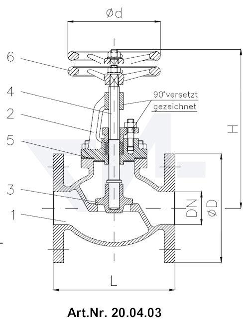 Клапан невозвратно-запорный фланцевый Typ 1270/1271-LK тип 20.04.03 / 20.04.04