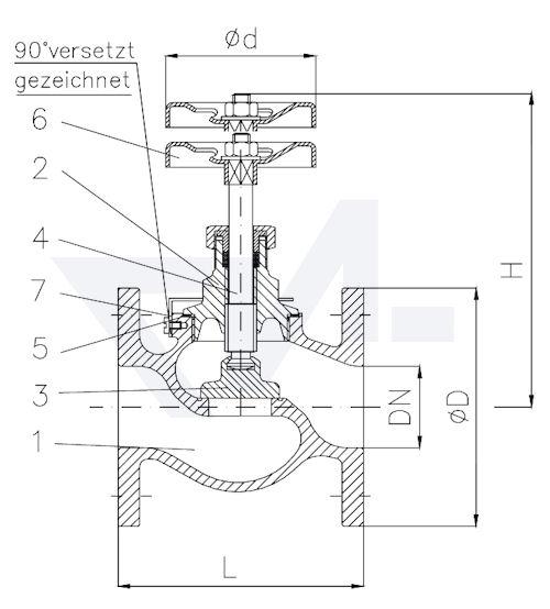 Судовой клапан из бронзы тип 20.70.01 ГК ИНМОР