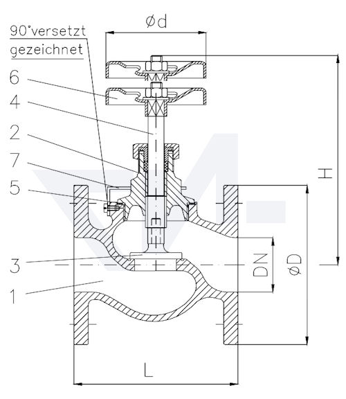 Клапан невозвратно-запорный с резьбовой крышкой с предохранителем от раскрутки (судостроительная норма) PN16 тип 20.08.01