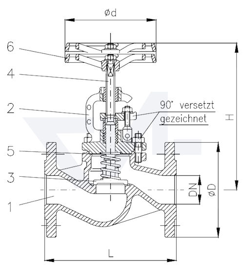Клапан невозвратно-запорный, нерж. сталь с дугообразной крышкой, с пружиной PN40 тип 20.11.22
