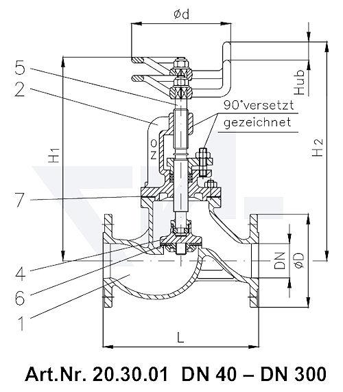 Клапан запорный фланцевый проходной VG 85033 тип 20.30.01 / 20.30.02