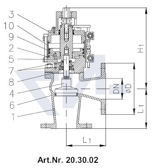 Клапан пневматический фланцевый, двойного действия, длина в соответствии с DIN, GGG 40.3 / нерж. сталь с аварийным управлением и 2 индикаторами положения тип 20.30.01 / 20.30.02