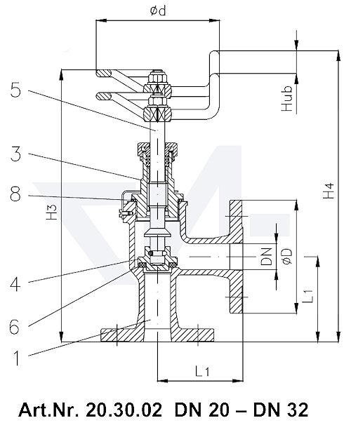 Клапан запорный фланцевый угловой VG 85034 тип 20.30.02