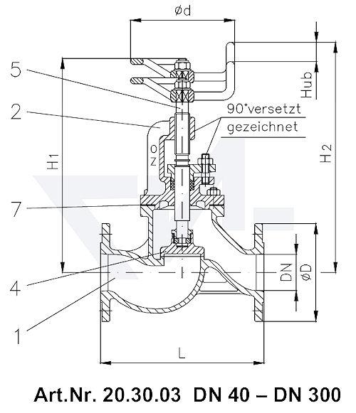 Клапан запорный фланцевый проходной VG 85033 тип 20.30.03