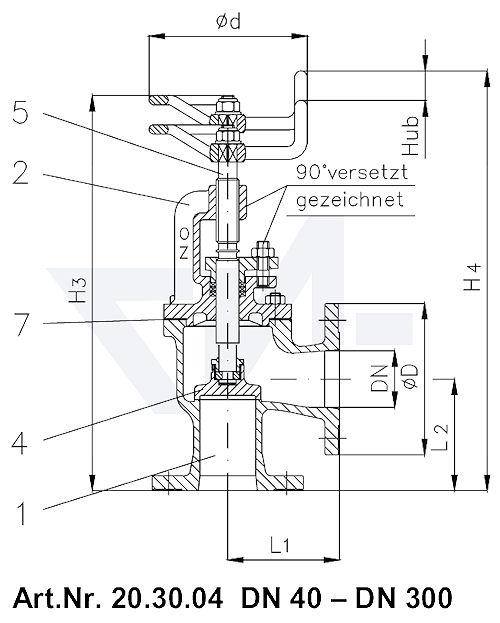 Клапан запорный фланцевый угловой VG 85034 тип 20.30.04