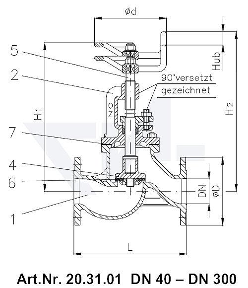 Клапан невозвратно-запорный VG 85033 тип 20.31.01