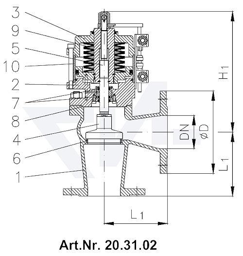 Клапан пневматический фланцевый, с закрытием пружиной, длина в соответствии с DIN, GGG 40.3/нерж. сталь с аварийным управлением и 2 индикаторами положения тип 20.31.01 / 20.31.02