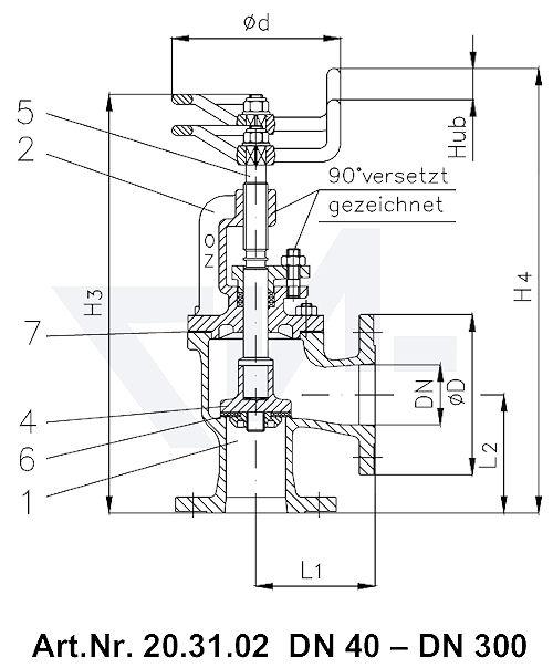 Клапан невозвратно-запорный фланцевый угловой VG 85034 тип 20.31.02