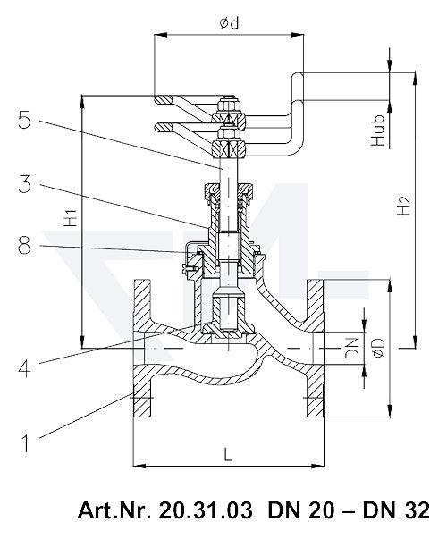 Клапан невозвратно-запорный VG 85033 тип 20.31.03