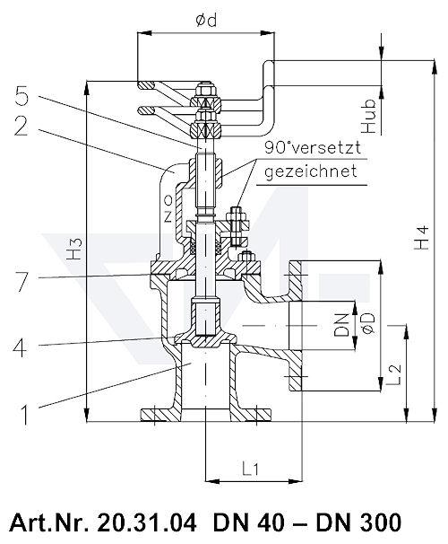 Клапан невозвратно-запорный фланцевый угловой VG 85034 тип 20.31.04
