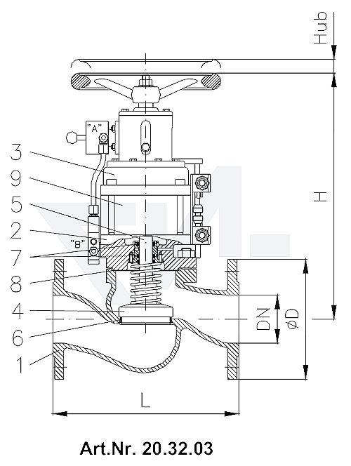 Клапан пневматический невозвратно-запорный фланцевый, с закрытием пружиной, длина в соответствии с DIN GGG 40.3/CuSn 6 с аварийным управлением, с наложенной быстрозапорной функцией и 2 индикаторами положения тип 20.32.03 / 20.32.04