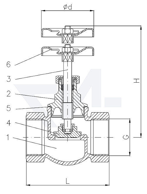 Клапан запорный проходной муфтовый стандарт, Rg 5/SoMs 59 с металлическим уплотнением тип 20.50.01
