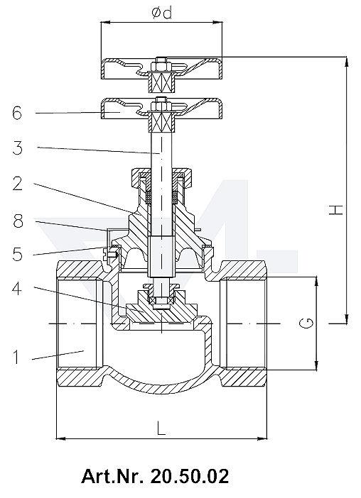 Клапан запорный проходной муфтовый DIN 3844/2, Rg 5/SoMs 59 с металлическим уплотнением тип 20.50.02 / 20.50.04