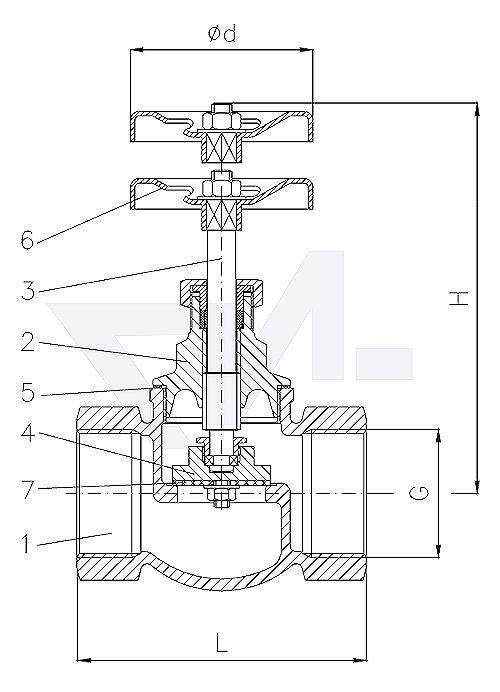 Клапан запорный проходной муфтовый стандарт, Rg 5/SoMs 59 с сальниковым уплотнителем PTFE тип 20.50.81