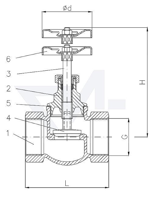 Клапан невозвратно-запорный проходной муфтовый стандарт, Rg 5/SoMs 59 с металлическим уплотнением тип 20.51.01