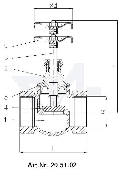 Клапан невозвратно-запорный проходной муфтовый DIN 3844/2, Rg 5/SoMs 59 с металлическим уплотнением тип 20.51.02