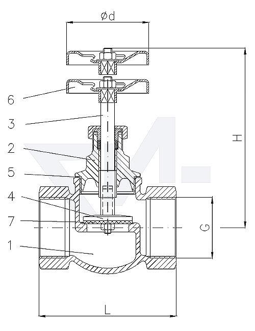 Клапан невозвратно-запорный проходной муфтовый стандарт, Rg 5/SoMs 59 с сальниковым уплотнителем PTFE