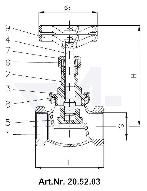 Клапан запорный муфтовый , Rg 5/SoMs 59 c контргайкой тип 20.52.03 / 20.52.04